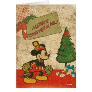 Felices Navidad del vintage de Mickey el   Tarjeta De Felicitación