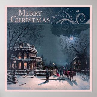 Felices Navidad del vintage Poster