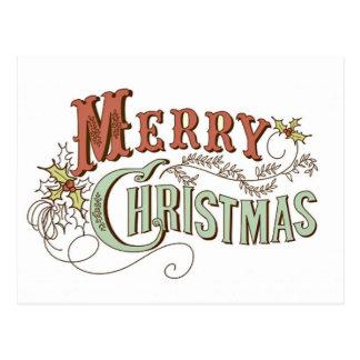 Felices Navidad del vintage que saludan Postal