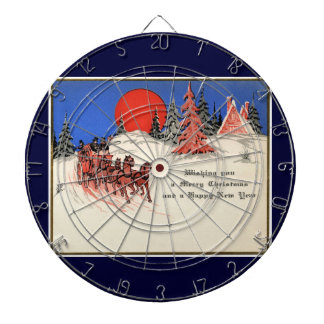 Felices Navidad del vintage y Feliz Año Nuevo Tablero Dardos