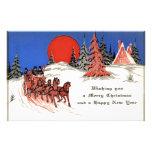 Felices Navidad del vintage y Feliz Año Nuevo Papelería Personalizada