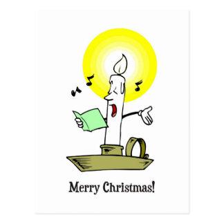 Felices Navidad, dibujo de la vela que canta un Postal
