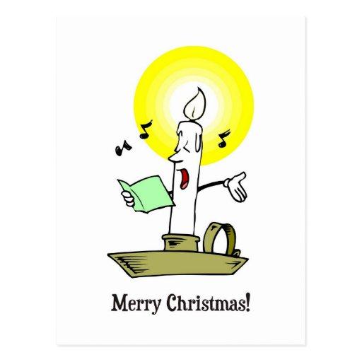 Felices Navidad, dibujo de la vela que canta un vi Postal