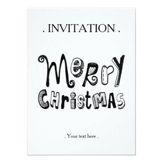 """Felices Navidad - diseño negro del texto Invitación 5.5"""" X 7.5"""""""