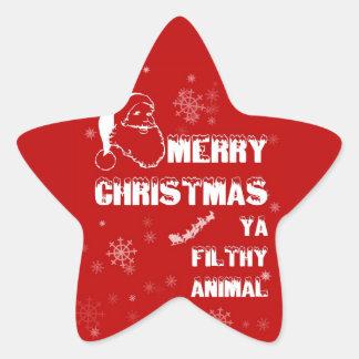 Felices Navidad divertidas Pegatina En Forma De Estrella