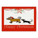 felices Navidad, dos Dachshunds Felicitacion