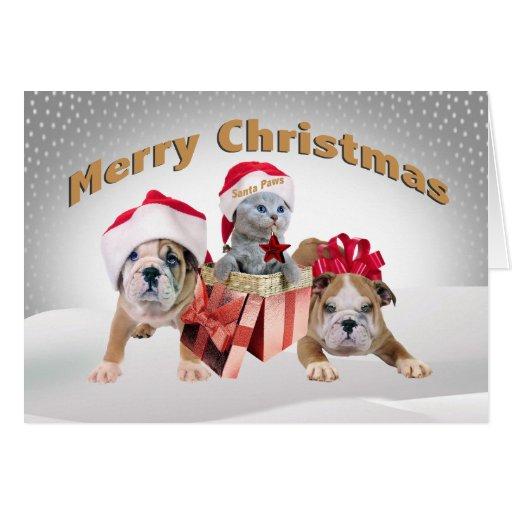 Felices Navidad dos tarjetas de los dogos y del ga
