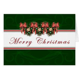 Felices Navidad - el rojo de la guirnalda arquea Tarjeta De Felicitación