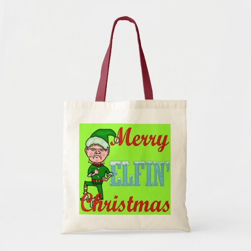 Felices Navidad Elfin divertidos Bolsa Tela Barata