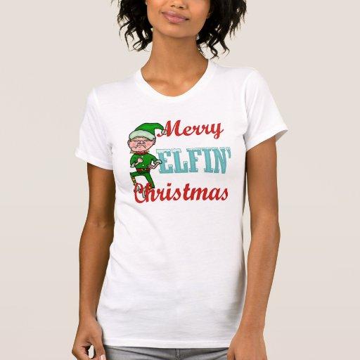 Felices Navidad Elfin divertidos Camisetas