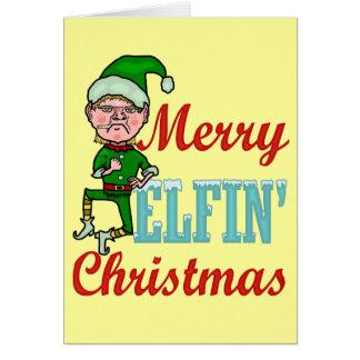 Felices Navidad Elfin divertidos Tarjeta De Felicitación