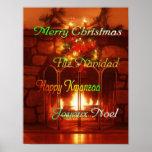 Felices Navidad, en 4 idiomas, poster