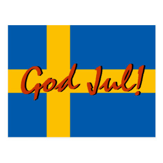 Felices Navidad en bandera sueca del sueco de juli Tarjetas Postales