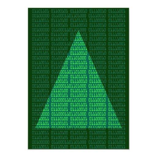 Felices Navidad en binario Invitación 12,7 X 17,8 Cm