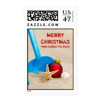 Felices Navidad en el franqueo de la playa Sello Postal
