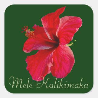 Felices Navidad en Hawaii Mele Kalikimaka Pegatina Cuadrada