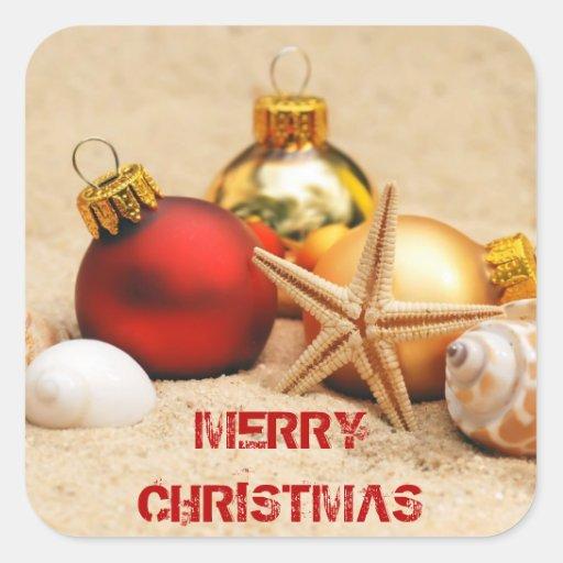 Felices Navidad en la playa Calcomanía Cuadrada Personalizada