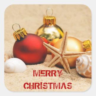 Felices Navidad en la playa Pegatina Cuadrada