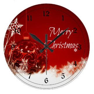 Felices Navidad en rojo y blanco Reloj Redondo Grande