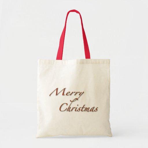 Felices Navidad en texto rojo Bolsa Lienzo