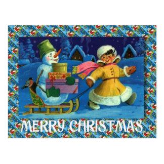 Felices Navidad, entregando los regalos en trineo Tarjetas Postales