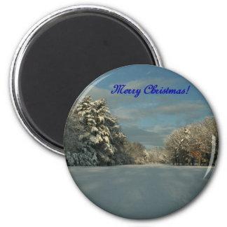 ¡Felices Navidad!  ¡Escena de la nieve! Imán Redondo 5 Cm