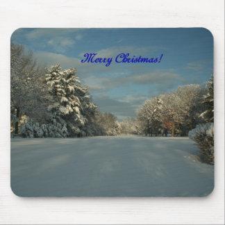 ¡Felices Navidad!  ¡Escena de la nieve! Tapetes De Ratones