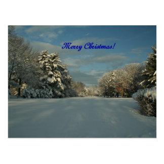 ¡Felices Navidad!  ¡Escena de la nieve! Postales
