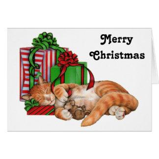 Felices Navidad gato, ratón y regalos de Navidad Tarjeta De Felicitación