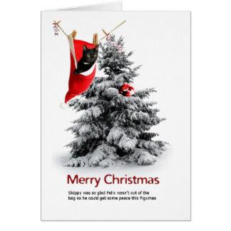 Felices Navidad gato y conejillo de Indias Tarjetas
