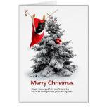 Felices Navidad gato y conejillo de Indias Tarjeta De Felicitación