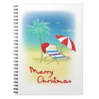 Felices Navidad, gorra de Santa, palmera, playa Libretas Espirales