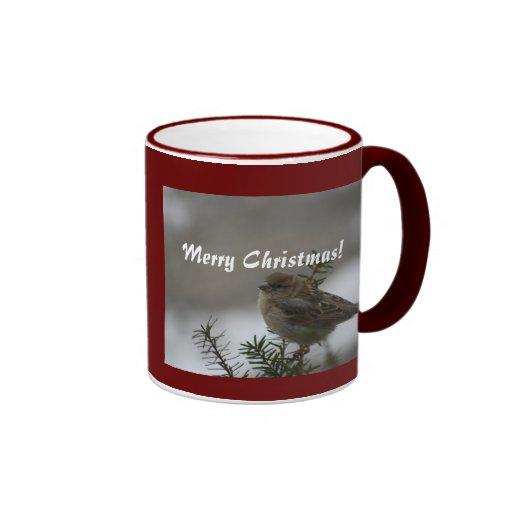 Felices Navidad, gorrión Taza De Café
