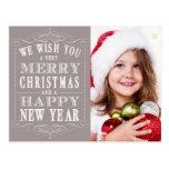 Felices Navidad grises, foto de la Feliz Año Nuevo Tarjetas Postales