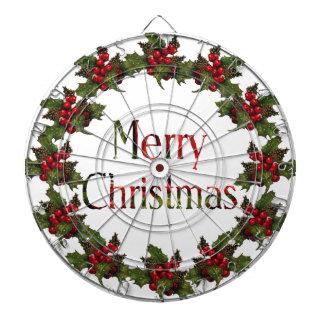 Felices Navidad Guirnalda del acebo conos del pi Tablero Dardos