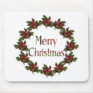 Felices Navidad: Guirnalda del acebo, conos del pi Tapete De Ratón