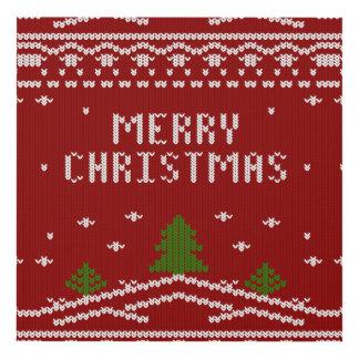 Felices Navidad, haciendo punto, modelo, verde, Cuadro