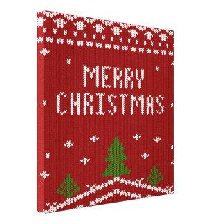 Felices Navidad, haciendo punto, modelo, verde, Lienzo Envuelto Para Galerías