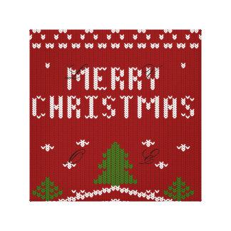 Felices Navidad, haciendo punto, modelo, verde, Lona Envuelta Para Galerías