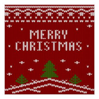 Felices Navidad, haciendo punto, modelo, verde, Perfect Poster