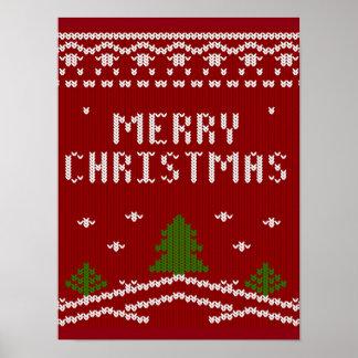 Felices Navidad, haciendo punto, modelo, verde, Póster