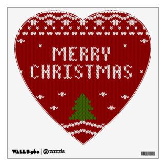 Felices Navidad, haciendo punto, modelo, verde, Vinilo Adhesivo