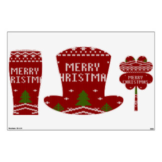 Felices Navidad, haciendo punto, modelo, verde, Vinilo Decorativo