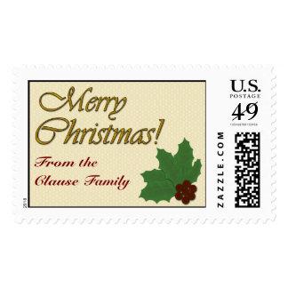 ¡Felices Navidad!  Hojas y bayas del acebo Franqueo