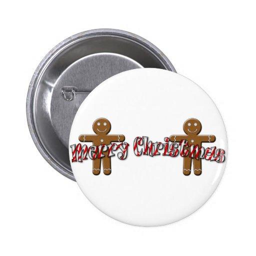 Felices Navidad - hombre de pan de jengibre Pin Redondo 5 Cm
