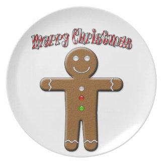 Felices Navidad - hombre de pan de jengibre Platos