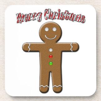 Felices Navidad - hombre de pan de jengibre Posavasos De Bebidas