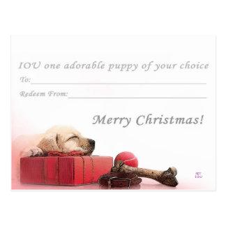Felices Navidad I.O.U un perrito Postal