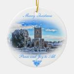 Felices Navidad {iglesia de Trull en nieve} Adorno Redondo De Cerámica