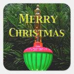 Felices Navidad ligeras de la burbuja que saludan Calcomania Cuadrada Personalizada